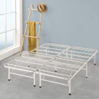 Zinus Premium White Metal Smartbase Double Bed Frame | Foldable Folding Bed Base with Under Bed Storage