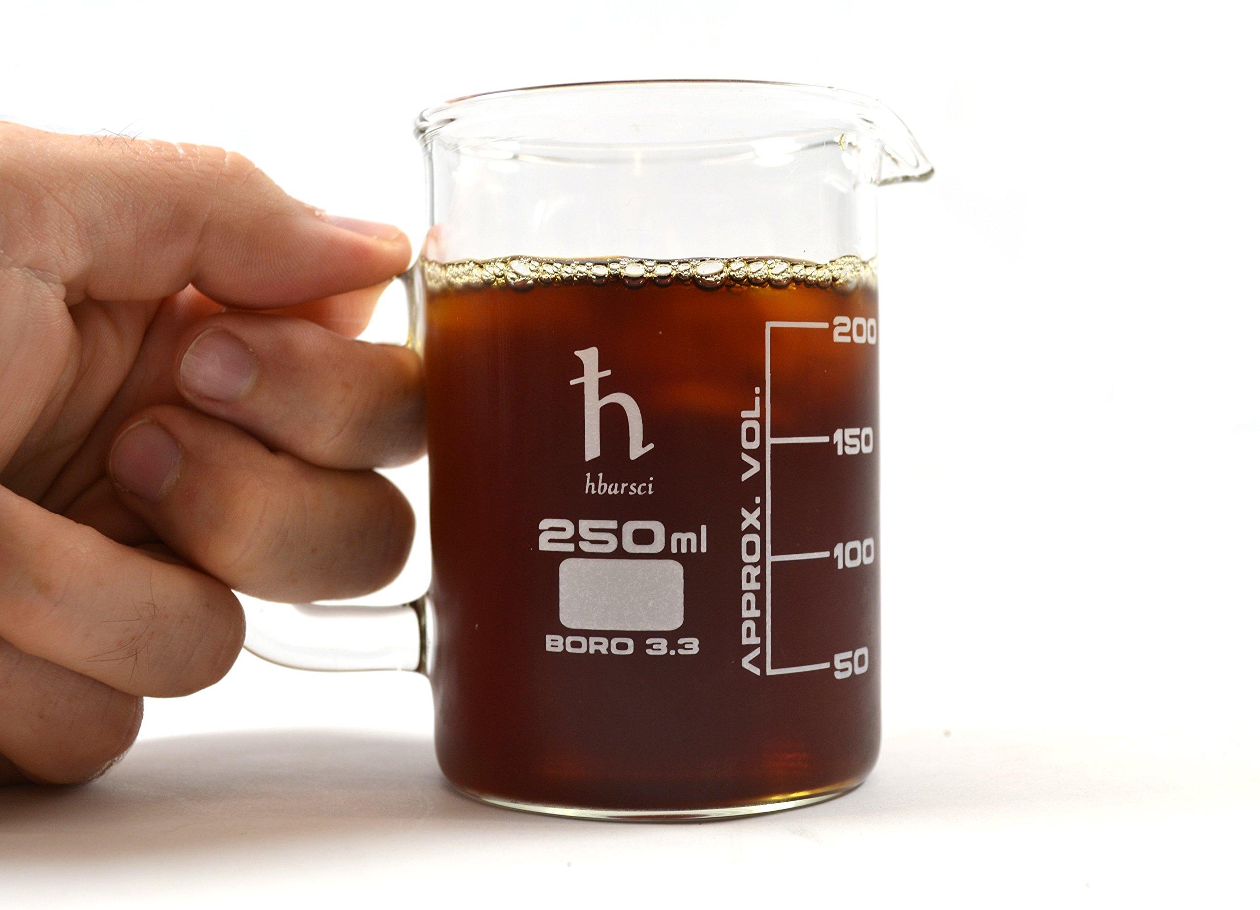 EISCO Premium Hand Crafted Beaker Mug, Thick Borosilicate Glass, Tea or Espresso Sized, 8.4oz. (250 mL), Small