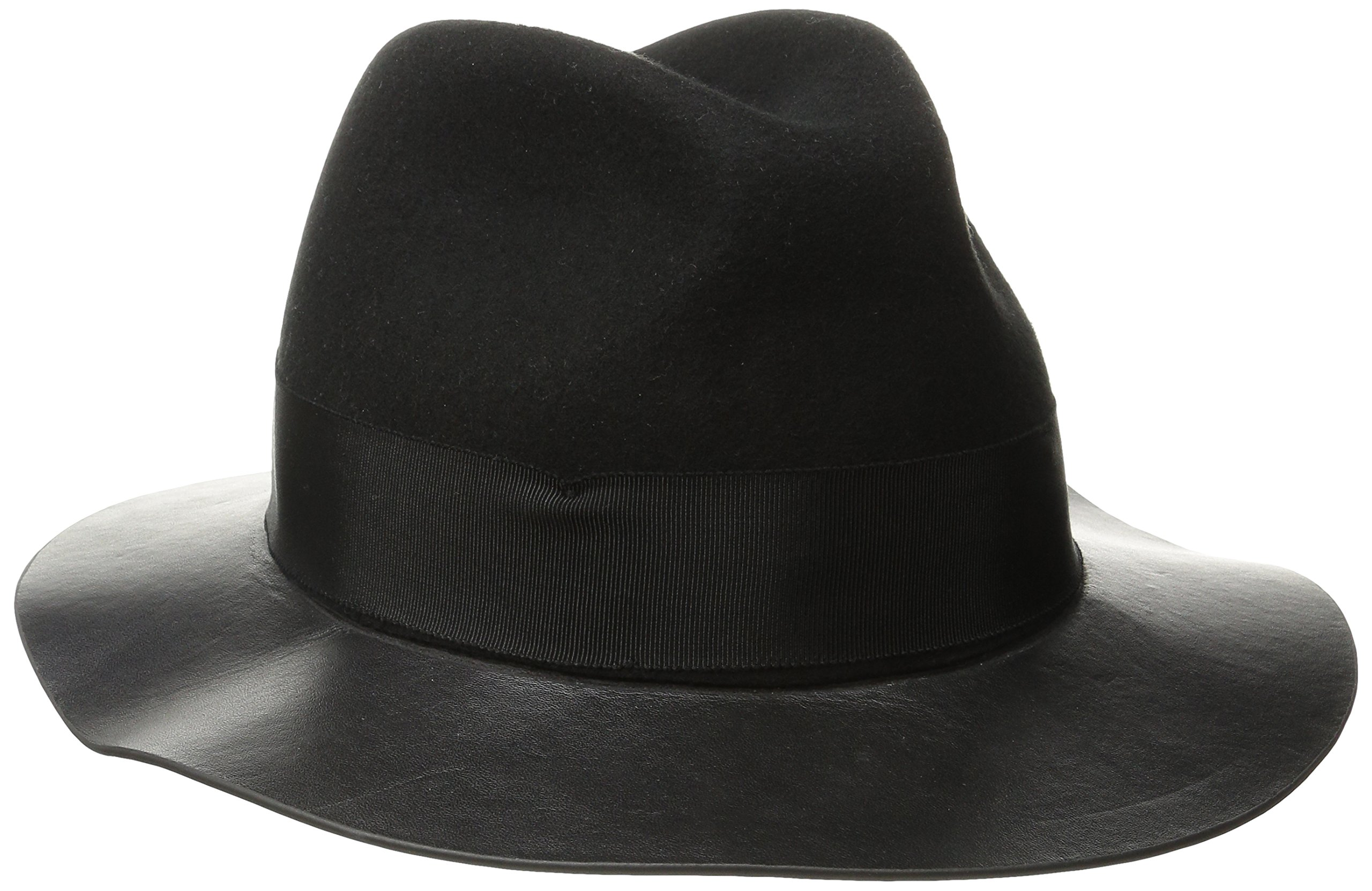 San Diego Hat Company Women's Adjustable Fedora with Grossgrain Band and Gold Stud Trim, Black, One Size