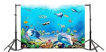 7921e23e13 Yeele 9x6ft Cartoon Cute Dolphin Aquarium Background Blue Seawater Seashell  Mussel Starfish Fish Coral Reef Photography