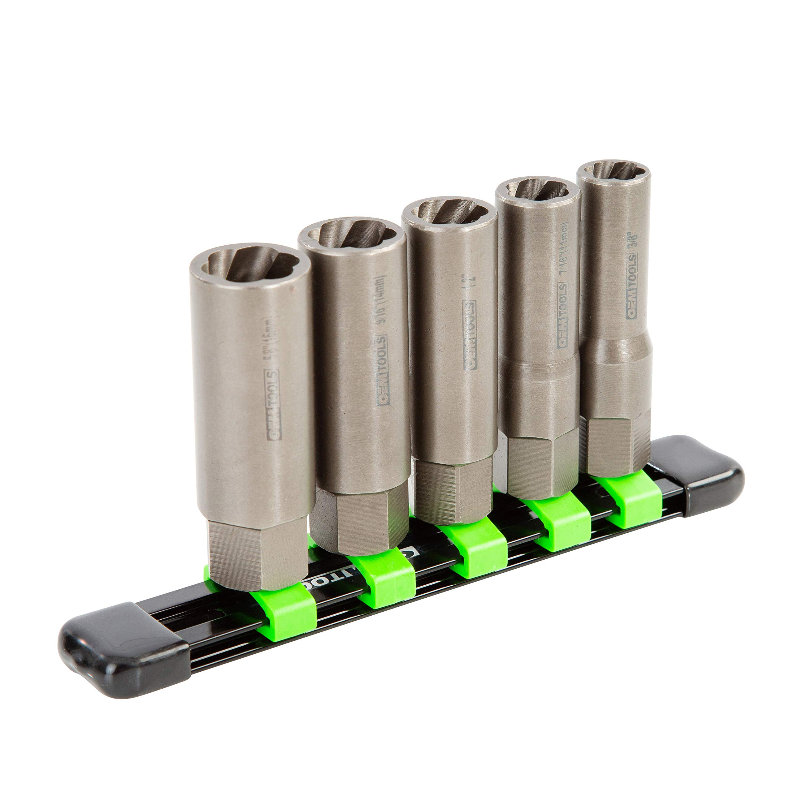 OEMTOOLS 22986 5 Piece Spiral Type Deep Extractor Set on Aluminum Rail by OEMTOOLS