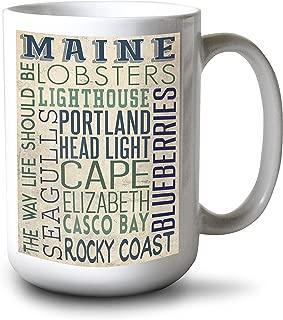 product image for Lantern Press Portland Head Lighthouse, Maine - Typography (15oz White Ceramic Mug)