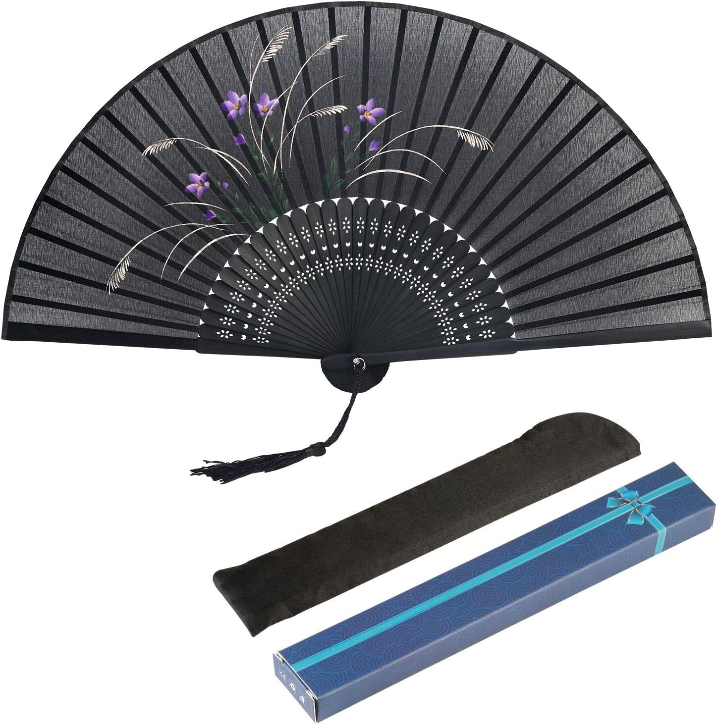 Black Hand Fan Metable Silk Fabric Orchid Pattern Bamboo Handheld Folding Fan Chinese Oriental Style Handmade For DIY Wall Decoration Wedding Party Dancing Show Props Gift Boxed