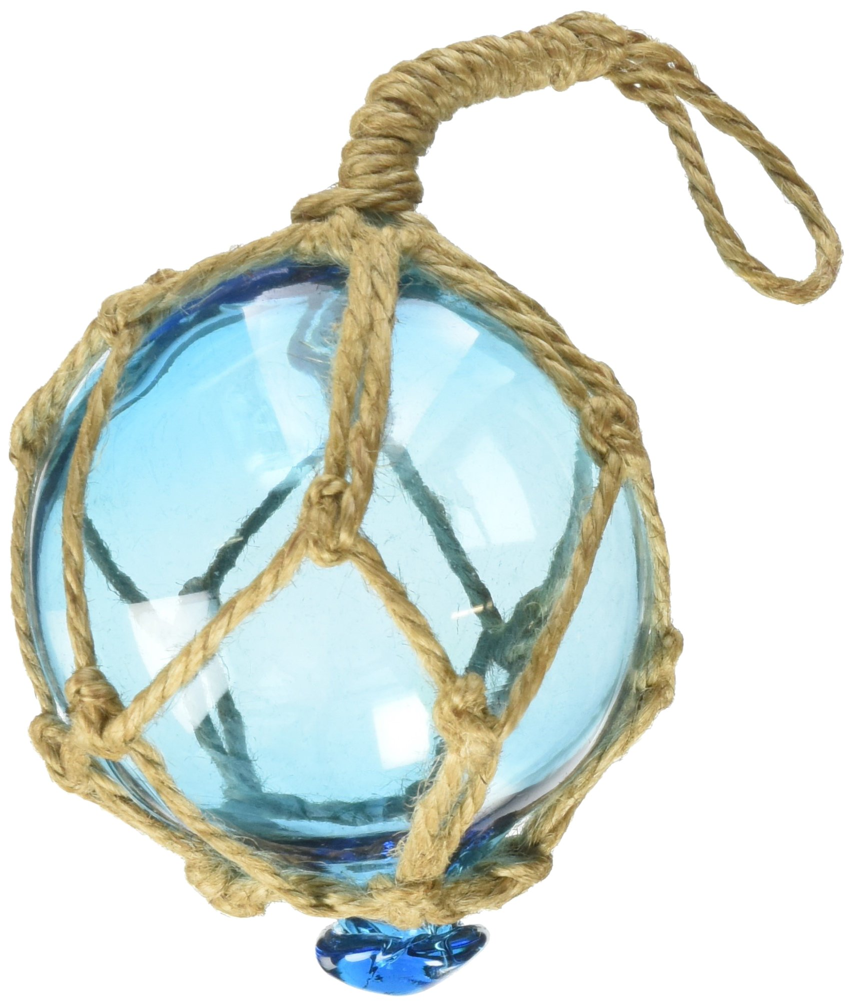 Hampton Nautical Light Blue Japanese Glass Ball Fishing Float with Brown Netting Decoration Christmas Ornament, 3''