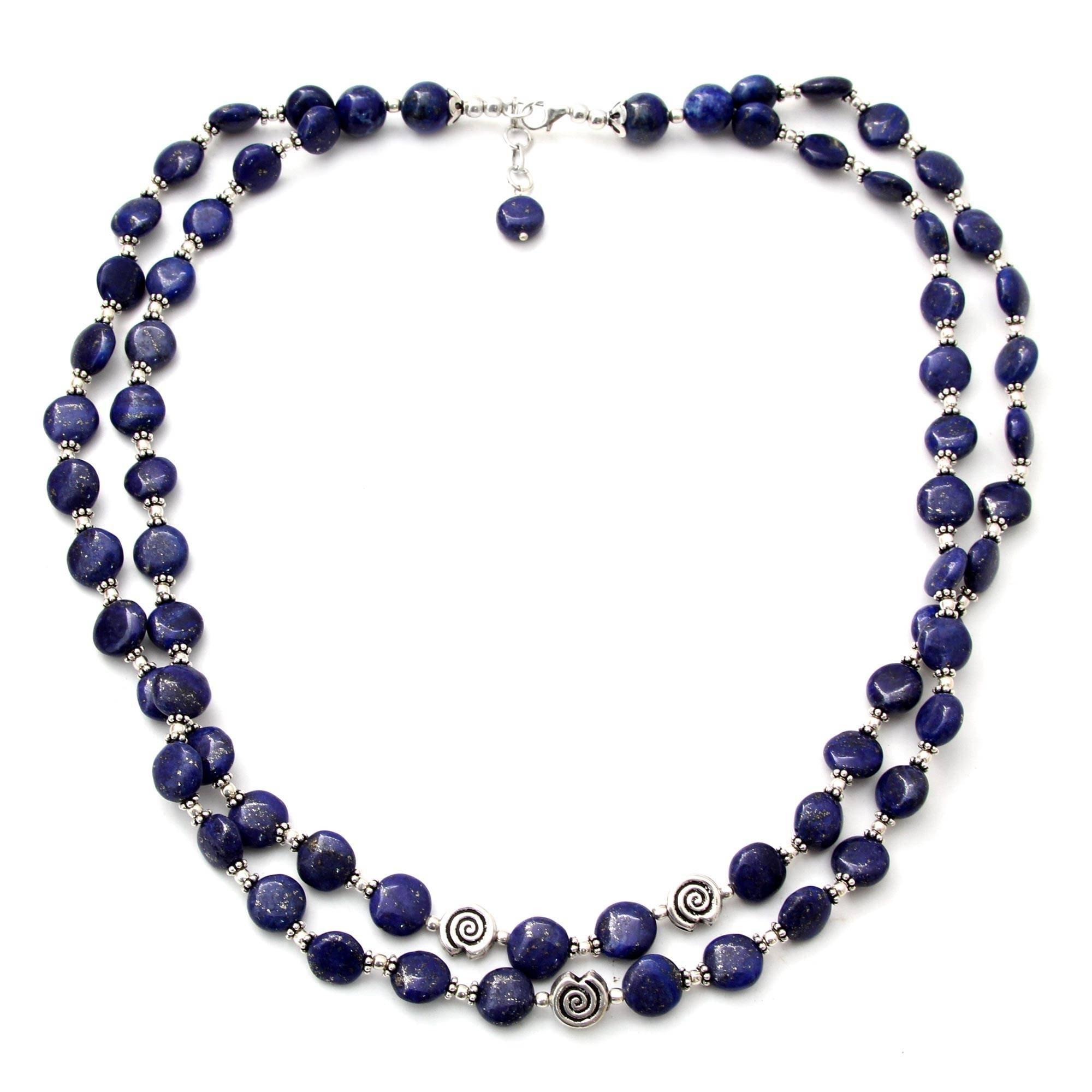 NOVICA Lapis Lazuli .925 Sterling Silver Beaded Strand Necklace 'Midnight Breeze'