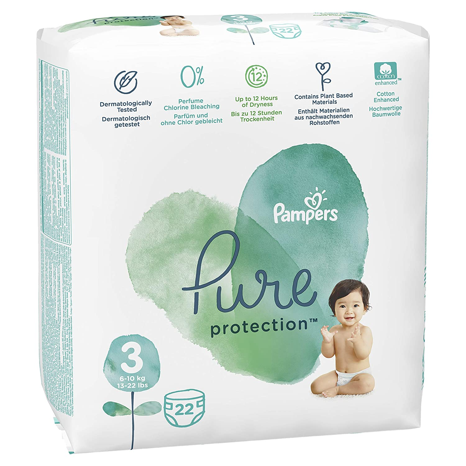 Pampers Pure Protection Gr 19 Stück 4 Maxi 9-14 kg Tragepack