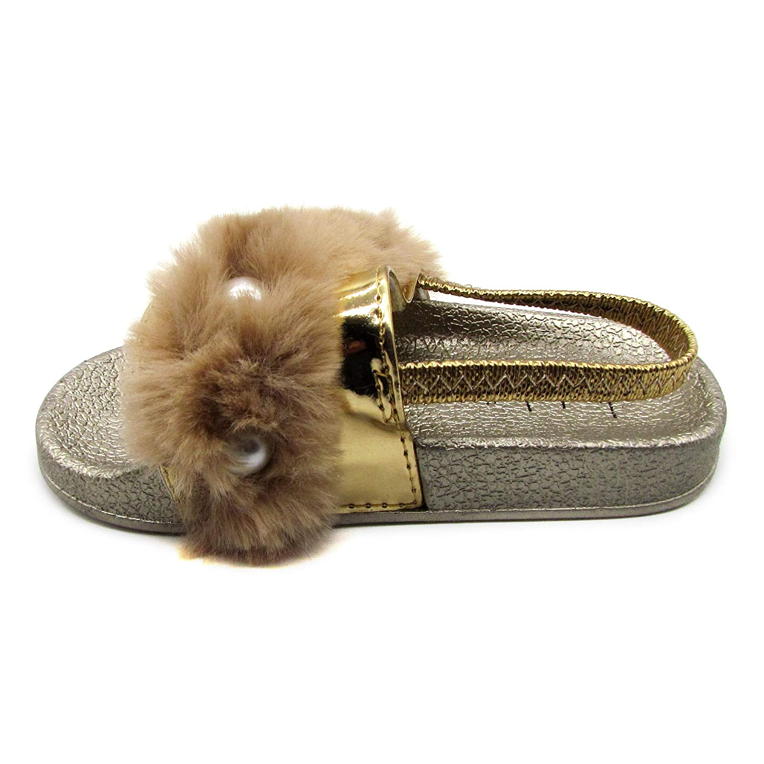 Nicole Miller New York Toddler and Little Girls Faux Fur Slide Sandals