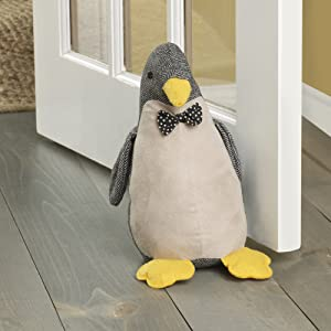 "Elements 5218412 Decorative Polyester Door Stop, 10"", Gray Penquin"