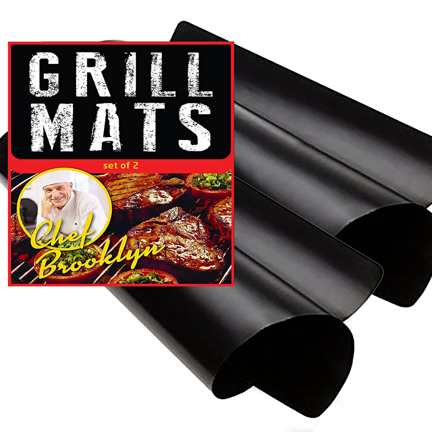 BBQ Grill Mats Non Stick Reusable - Set of 2 Heavy Duty Non-Stick Grilling Mats 16x13 Inch Ideal for Gas, Charcoal, Oven or Electric Barbeques Great Gift for Dad Chef Brooklyn CB101