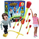 Stomp Rocket Ultra Rocket with Ultra Rocket Refill Pack, 6 Rockets - Outdoor Rocket Toy Gift for Boys and Girls - Comes with