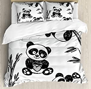 Ambesonne Panda Duvet Cover Set, Cheerful Panda Different Poses with Bamboo Branch Children Painting Print, Decorative 3 Piece Bedding Set with 2 Pillow Shams, King Size, Black White