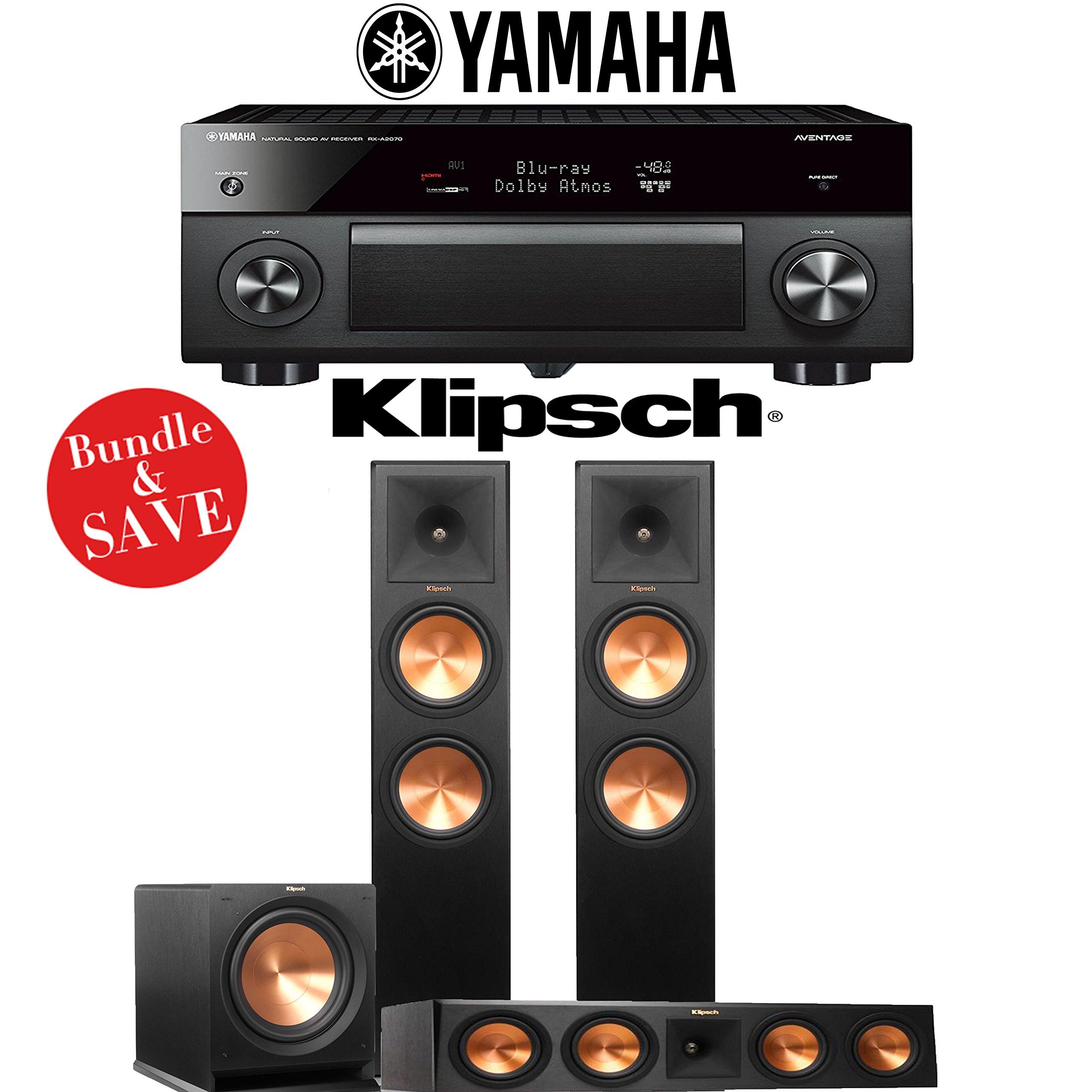 Yamaha AVENTAGE RX-A2070BL 9.2-Ch 4K Network AV Receiver + Klipsch RP-280F + Klipsch RP-450C + Klipsch R-112SW - 3.1-Ch Home Theater Package by Yamaha