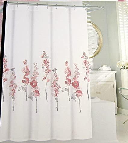 Amazon.com: Tahari Home Fabric Floral Shower Curtain Hollyhock Pink ...
