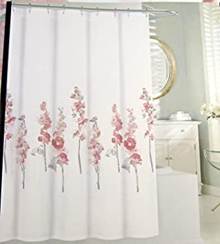 Tahari Home Fabric Floral Shower Curtain Hollyhock Pink And Gray72u0026quot; ...