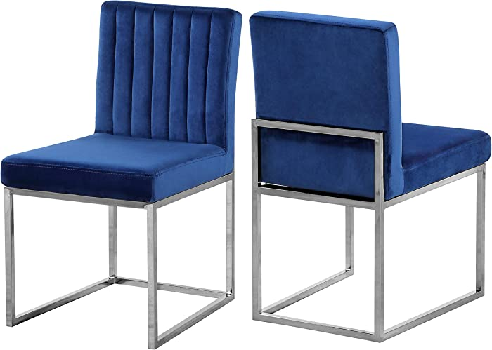 "Meridian Furniture Giselle Collection Modern | Contemporary Velvet Upholstered Dining Chair with Durable Metal Base, Set of 2, 18"" W x 22"" D x 32"" H, Navy"