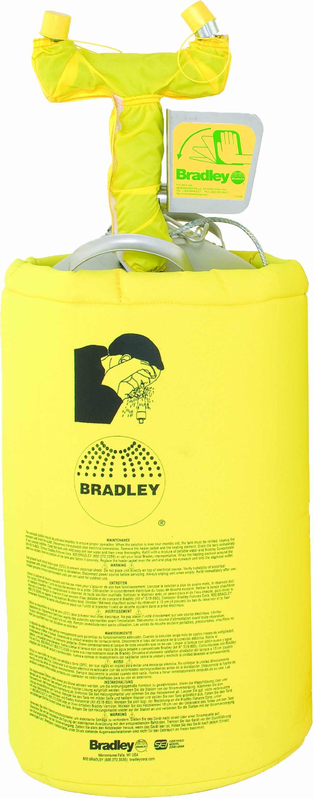 Bradley S19-690H 10 Gallon Safety Heated Portable Pressurized Eye/Face Wash Unit with Drench Hose, 14'' Width x 37-5/8'' Height