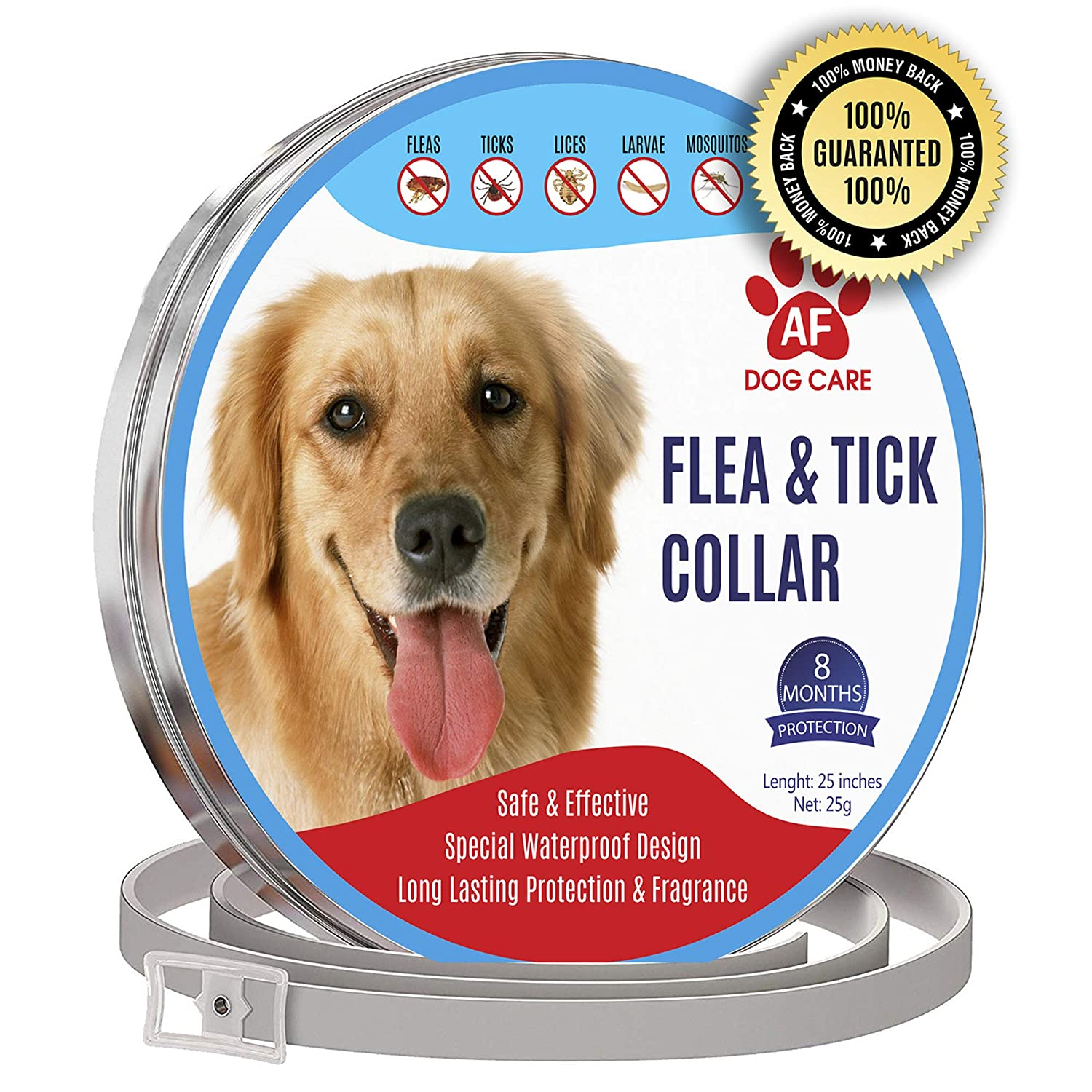 AF Dog Flea and Tick Control Collar – 8 Months Flea and Tick Control for Dogs – Natural, Herbal, Non-Toxic Dog Flea Treatment – Waterproof Protection and Adjustable Best Flea Collar for Dogs