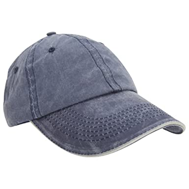 Result Washed Fine Line Cotton Baseball Cap With Sandwich Peak (One Size)  (Navy 0a243ad3c20