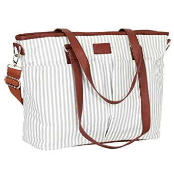 Amazon.com   Diaper Bag by Hip Cub - Designer Messenger - W Stylish Stripe  Baby Changing Pad   Baby 3e15468ff6eef