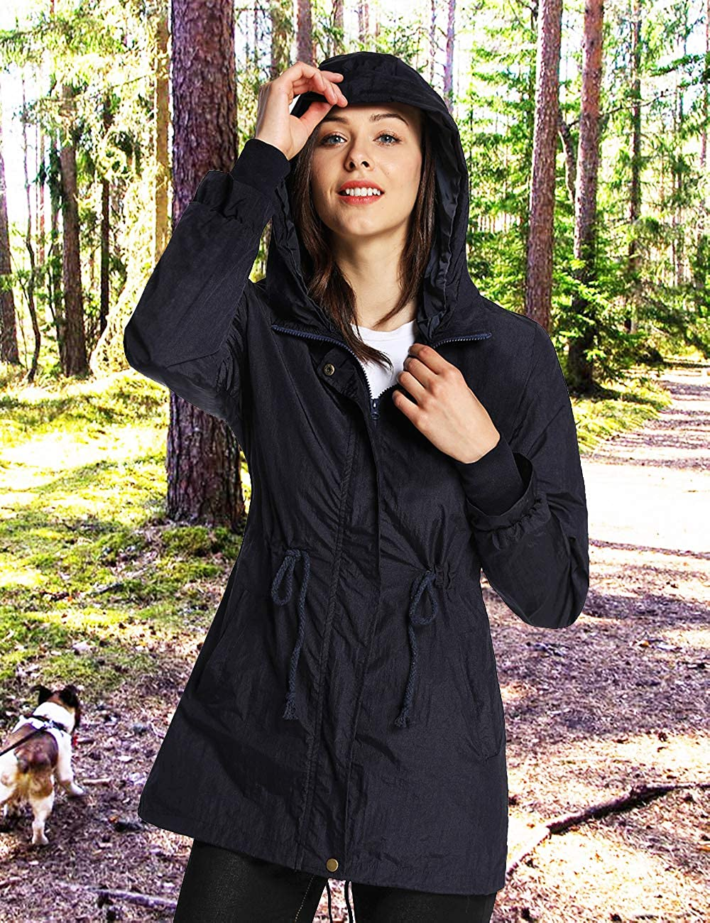 iLoveSIA Womens Military Jacket Rain Repellent Trench with Hood