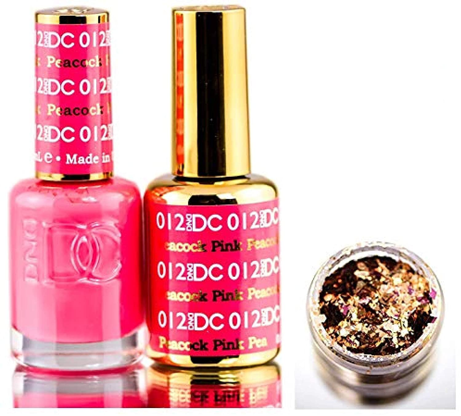 Amazon Com Dnd Dc Pinks Gel Polish Duo Gel Lacquer 0 5 Oz Matching Nail Polish Color 0 5 Oz Daisy Nails With Glitter Made In Usa Peacock Pink 012 Beauty