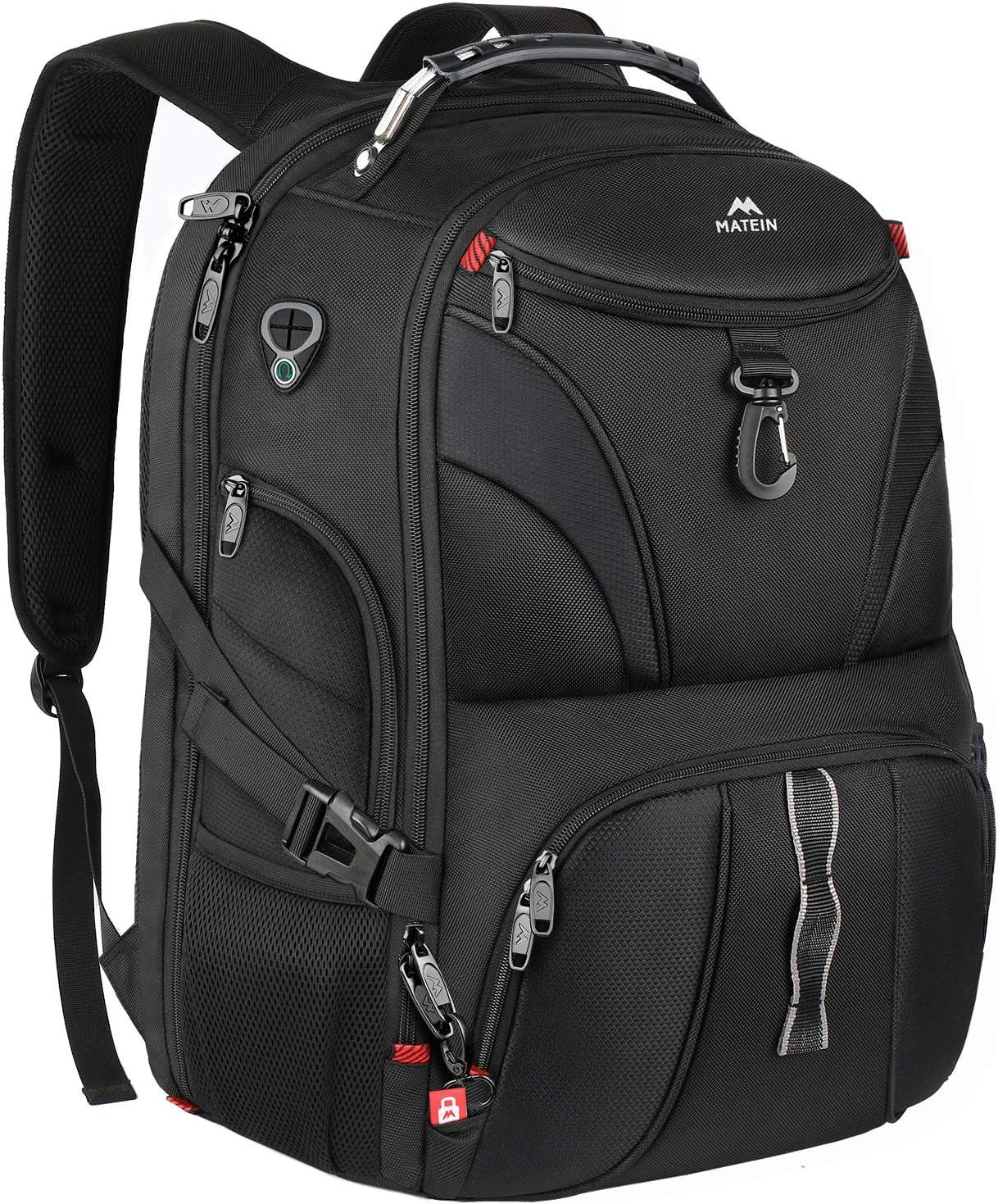 School Backpack, Matein Large Laptop Backpack for Men Women Student with USB Port, Big College Bookbag TSA Friendly Travel Bag Water Resistant Business Computer Backpacks Fit 17 Inch Laptops, Black