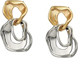 Rebecca Minkoff Organic Metal Drop Earrings Gold/Silver One Size