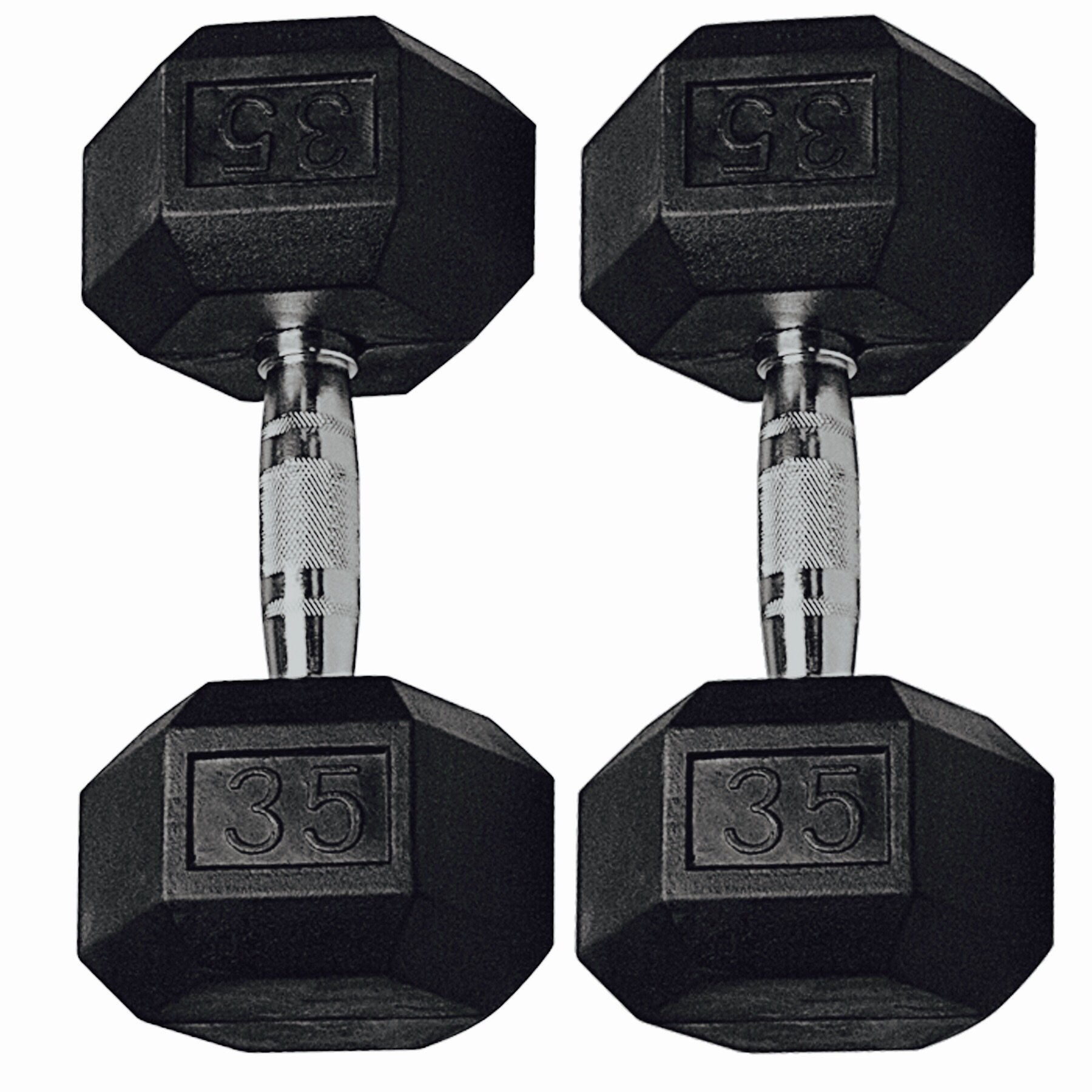 Gymenist Set of 2 Hex Rubber Dumbbell with Metal Handles, Pair of 2 Heavy Dumbbell (35 LBs )