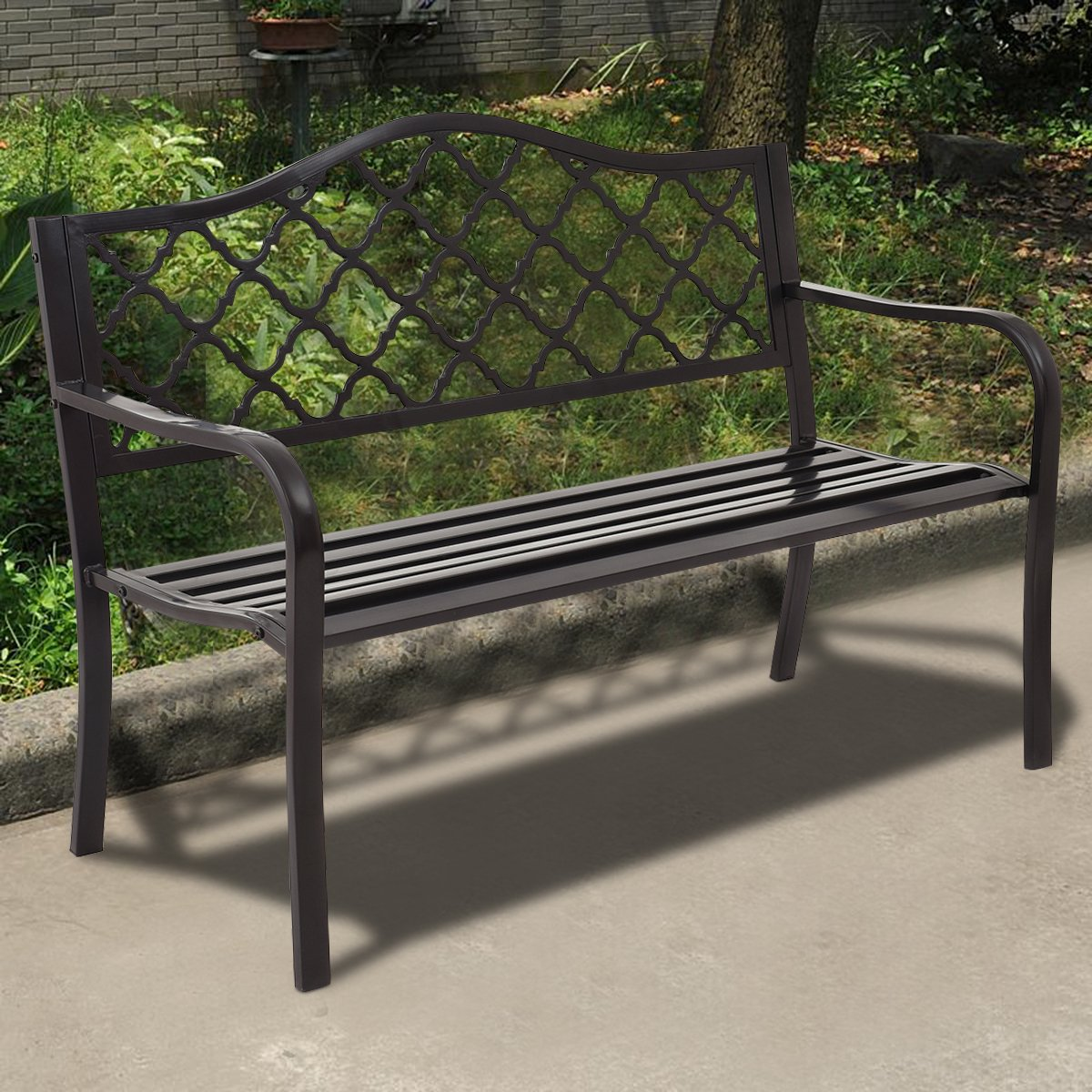 Giantex 50'' Patio Garden Bench Loveseats Park Yard Furniture Decor Cast Iron Frame Black (Black Style 1) by Giantex (Image #2)