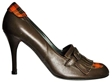 c4fa47ec9f Maggie. High-front court shoe in brown leather with plaid front and ...