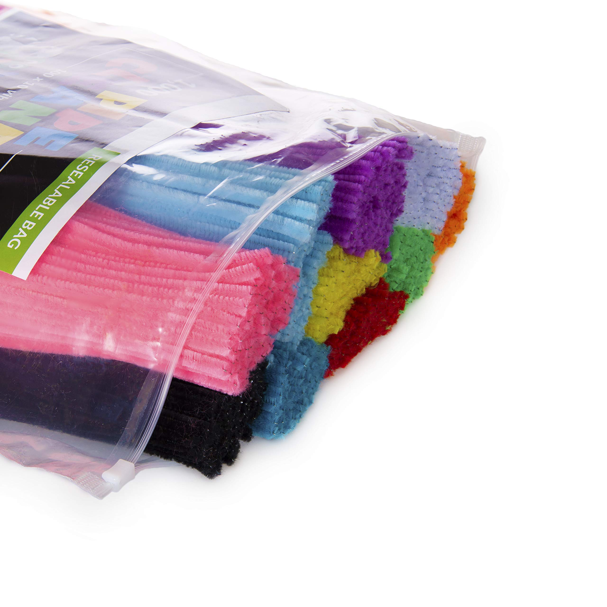 Zees 1,000 Pipe Cleaners in 10 Assorted Colors, Value Pack of Chenille Stems for DIY Arts and Craft Projects and Decorations - 6mm x 12 Inches by zees products (Image #2)