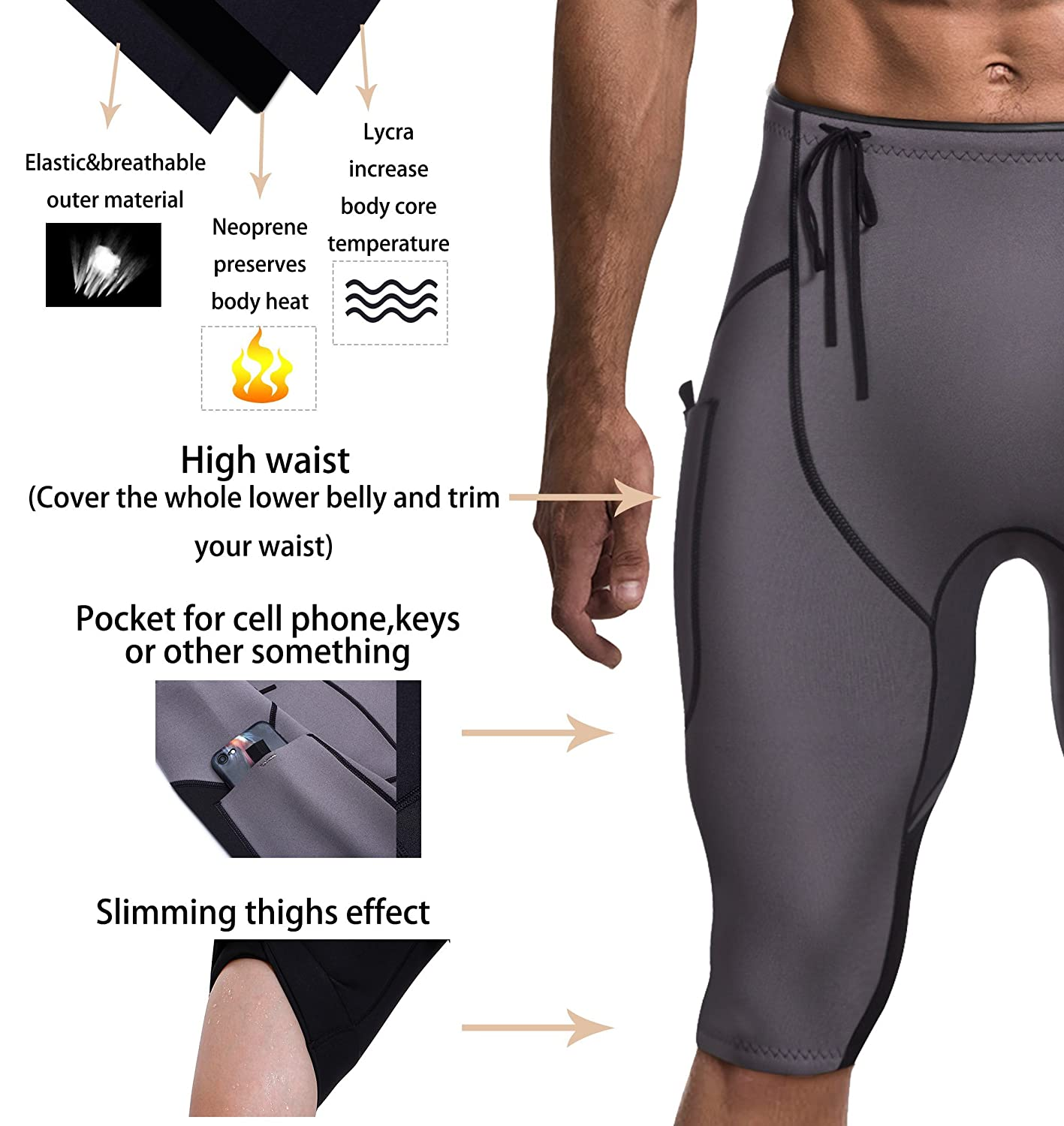 CtriLady Mens Neoprene Wetsuit Shorts Diving Suits Pants 2mm for Swimming Canoeing Surfing with Pocket