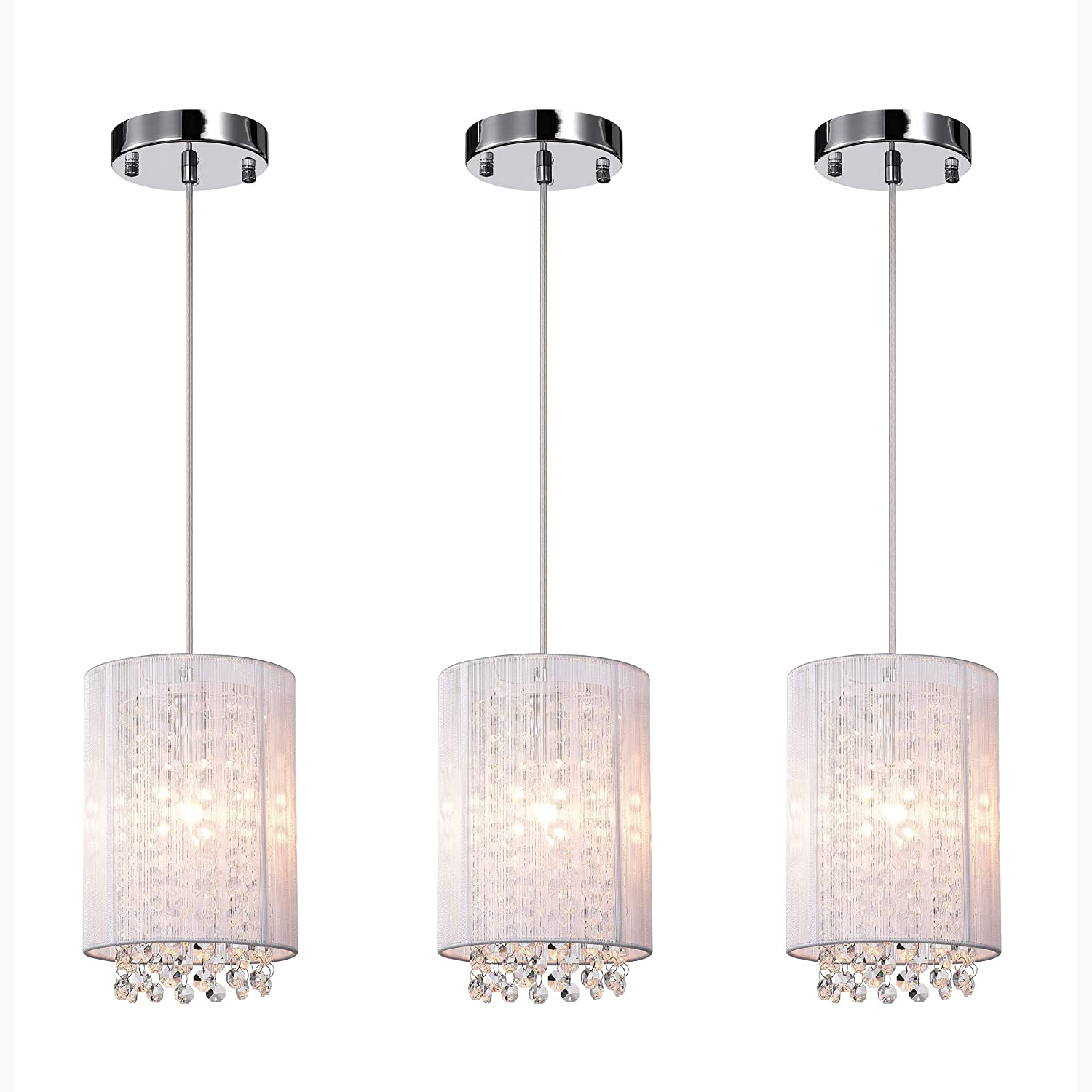 LaLuLa Pendant Lighting White Modern Chandeliers 1 Light Ceiling Lights 3 Pcak