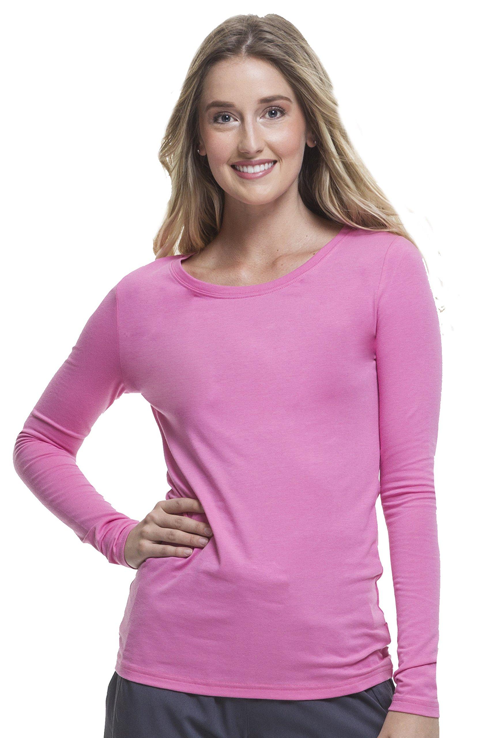 Healing Hands Scrubs Melissa 5047 Knit Long Sleeve Underscrub Tee Shirt- Pretty in Pink- 3XL