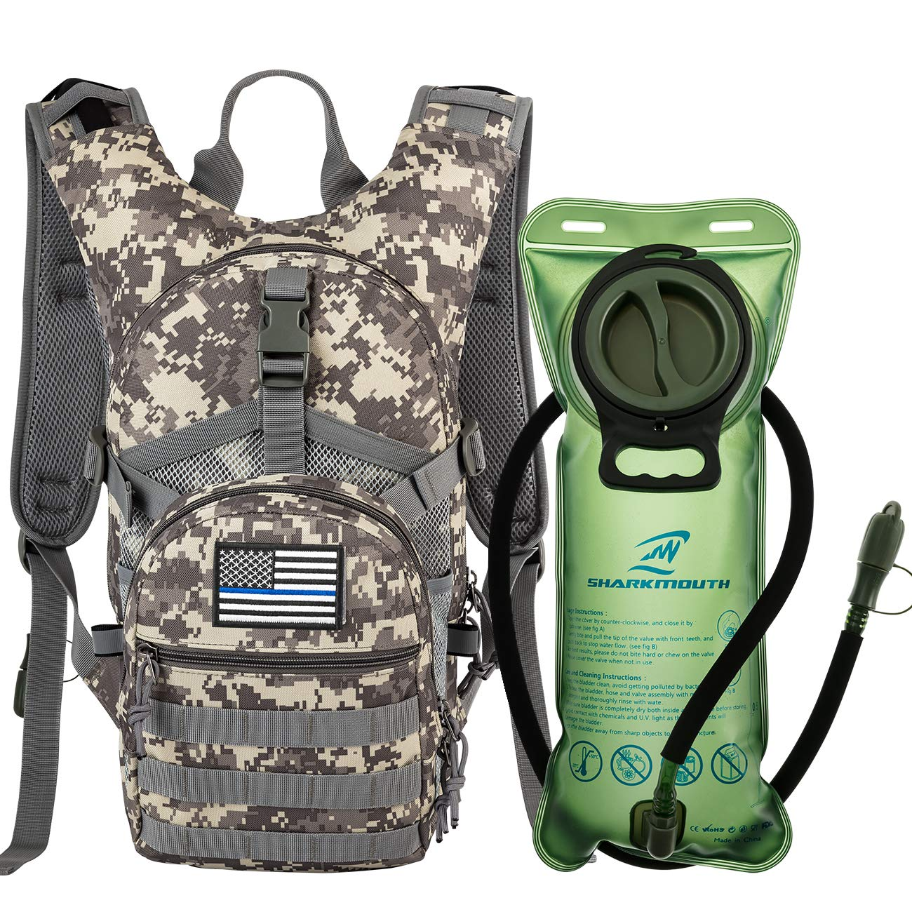 SHARKMOUTH Tactical MOLLE Hydration Pack Backpack 900D with 2L Leak-Proof Water Bladder, Keep Liquids Cool for Up to 4 Hours, Outdoor Daypack for Hiking, Running, Hunting, USA Flag Patch, Camo