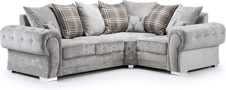 Honeypot Sofa Verona Fabric Corner Sofa 3 Seater 2 Seater Footstool Grey 2c1 Right Hand Amazon Co Uk Kitchen Home