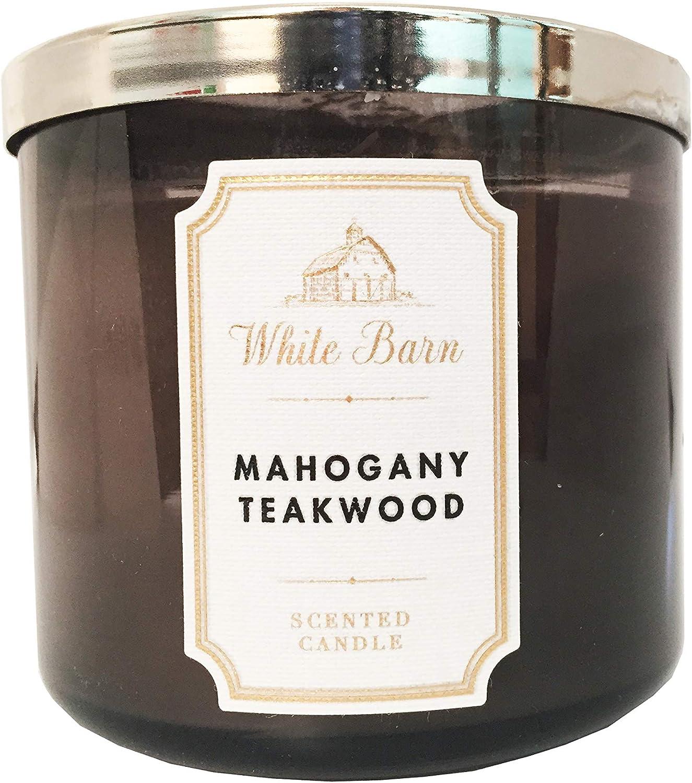 Amazon Com Bath Body Works White Barn 3 Wick Candle Mahogany Teakwood Home Kitchen
