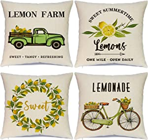 Hlonon Summer Pillow Covers 18x18 Inch Set of 4 Summer Decorations Lemons Farm Truck Bicycle Farmhouse Throw Pillows Cases Linen Cushion Case for Couch Sofa Home Decor