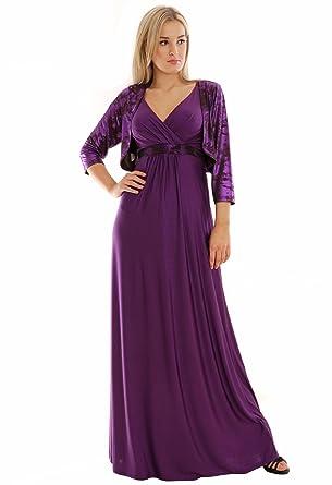 4a661b429cc Long Summer Party Holiday Maxi Dress Empire Style Deep Purple UK Sizes 14 -  16  Amazon.co.uk  Clothing