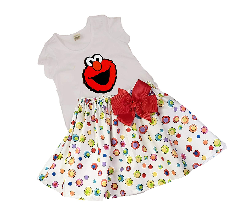 Elmo Girls Skirt Outfit Birthday Toddler Girl Name Age