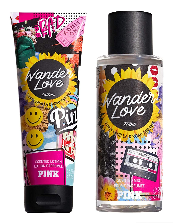 Victoria Secret Pink Summer Forever Scented Mist and Lotion Set (2PC) - 8.4 fl oz & 8 fl oz (Wander Love)