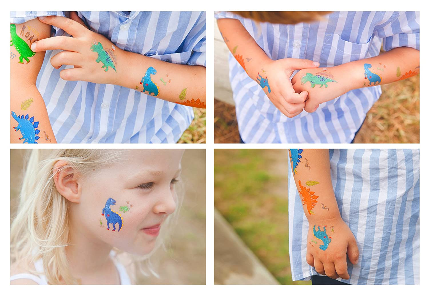 Parties and Events 24 Tattoos Hugo /& Emmy Dinosaur Temporary Tattoos for Kids Party Favors for Goodie Bags for Birthdays 12 Sheets