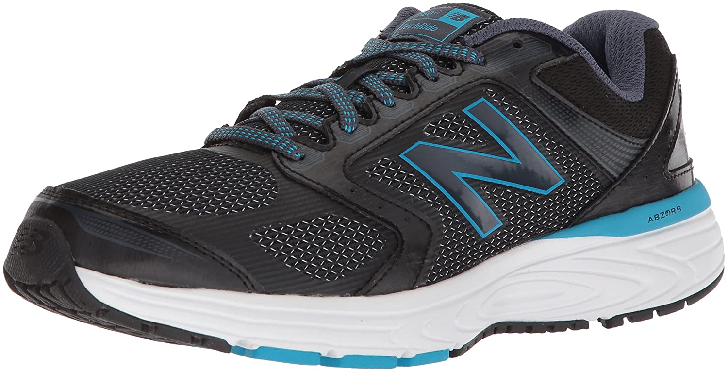 New Balance Women's W560v7 Cushioning Running Shoe B0751GPX97 8.5 D US|Black/Blue