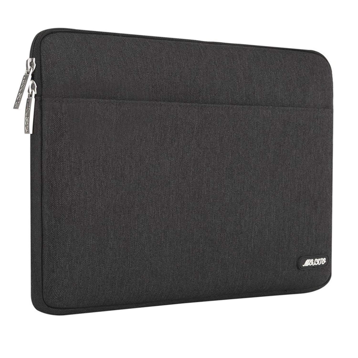 MOSISO Laptop Sleeve Bag Compatible 15-15.6 Inch MacBook Pro, Notebook Computer, Spill Resistant Polyester Horizontal Protective Carrying Case Cover, Black
