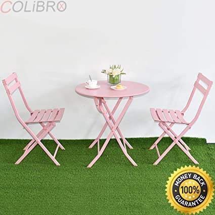 Amazon.com : COLIBROX--3 PC Folding Table Chair Set Outdoor Patio ...