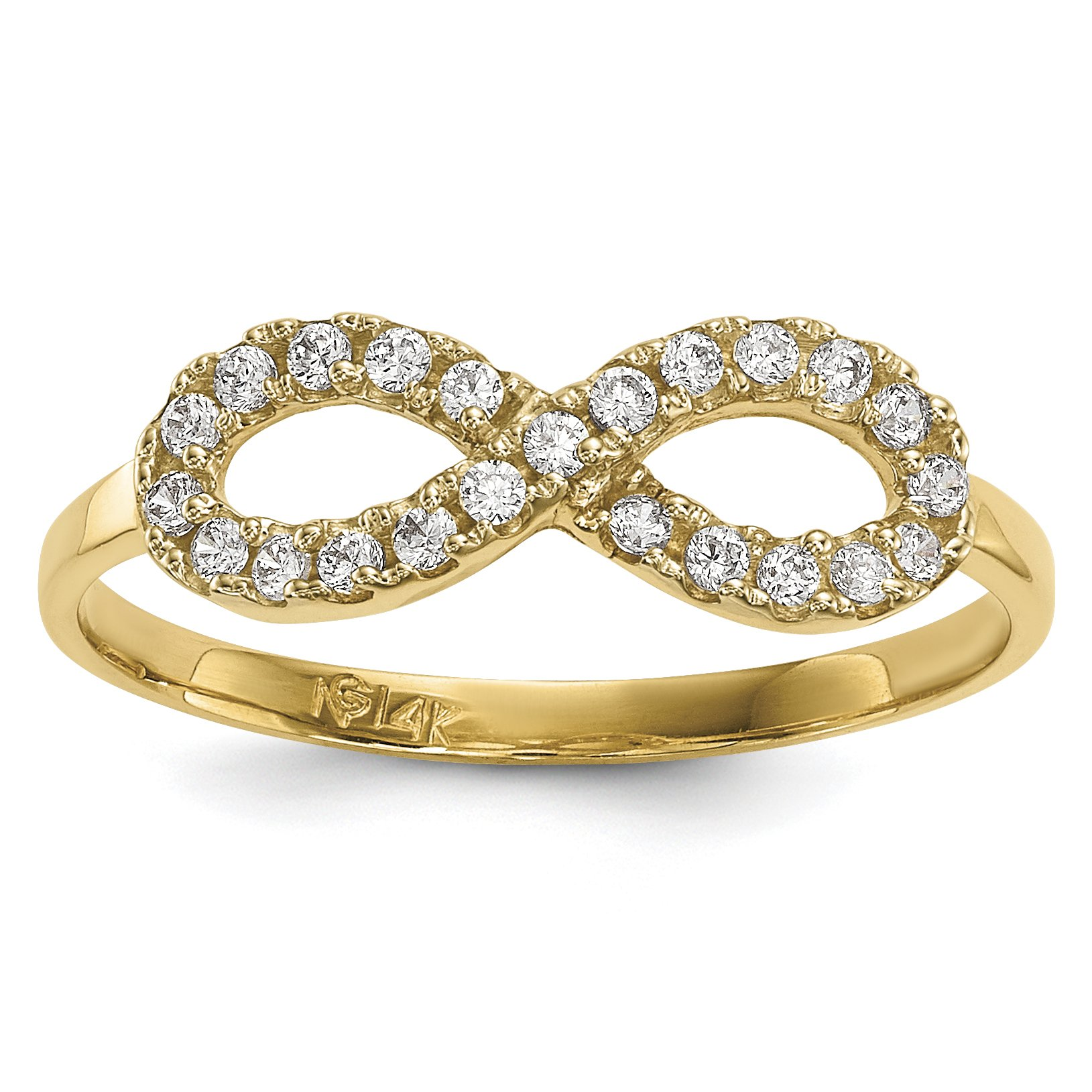 ICE CARATS 14k Yellow Gold Cubic Zirconia Cz Infinity Symbol Band Ring Size 7.00 Fine Jewelry Gift Set For Women Heart