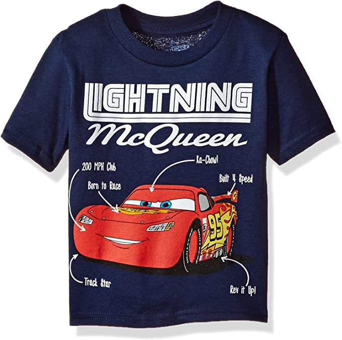 Disney Cars T-Shirt Lightning Mcqueen Boys Navy Blue Short Sleeve Shirt