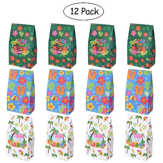 LUOEM Luau - Bolsas de regalo para Hibisco Hawaiano, bolsas de dulces, bolsas de papel, bolsas de regalo para cumpleaños, bodas, fiestas, suministros ...