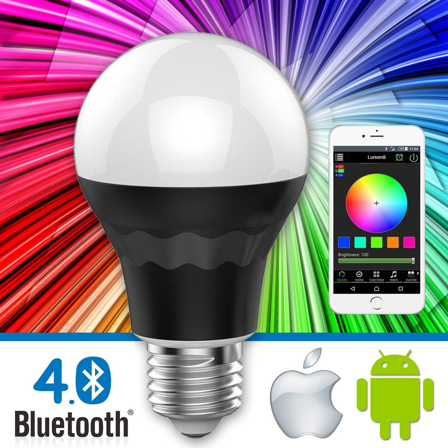 iphone controlled lighting. Lumen8 Bluetooth 7.5W Multi-Colored Smart LED Light Bulb; Smartphone Controlled, Dimmable - Works With IPhone, Android Phone And Tablets (BT7WB1) Iphone Controlled Lighting
