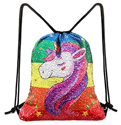1444b5d27c5f Unicorn Sequin Drawstring Backpack Bling Beach Hiking Bags (Unicorn Rainbow)